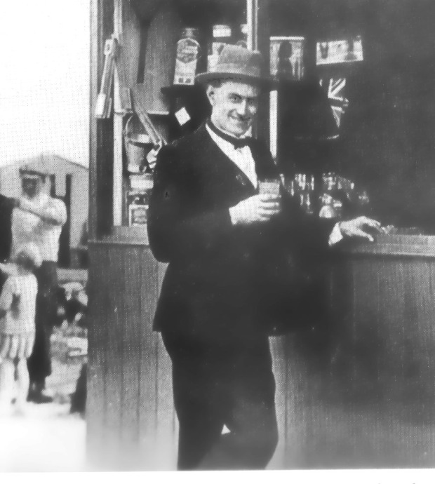 STANLEY ALDRICH outside his Tea Stall
