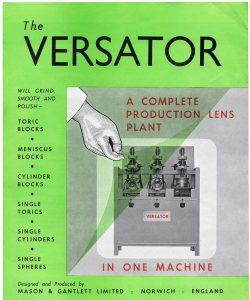 Brochre for THE VERSATOR machine