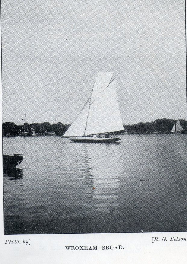 Yacht on Wroxham Broad, river Bure