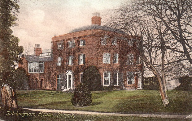 """Ditchingham House c1910. The card says:""""I thought perhaps you would like this card. Mr Rider Haggard lives here."""""""
