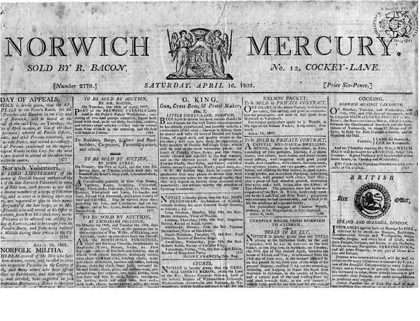 THE NORWICH MERCURY in the early 19th century