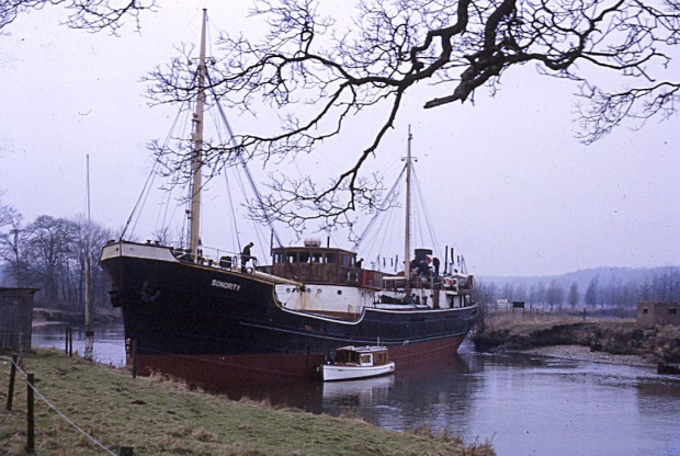 SONORITY aground at Whitlingham, 16 March 1970. The police launch is alongside.