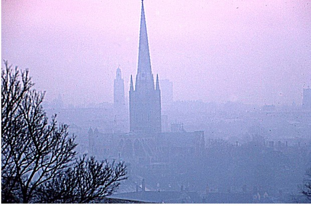 NORWICH CATHEDRAL from ST JAMES'S HILL