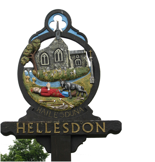 Hellesdon Village sign showing St Edmund's body and the wolf.