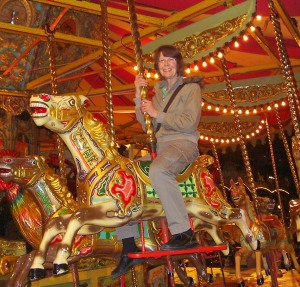 My wife Molly on the gallopers at Thurton.