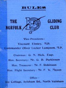MEMBERSHIP CARD of the Norfolk Gliding Club, 1935