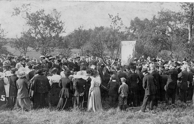 PILGRIMS at St Walstan's Well about a hundred years ago.