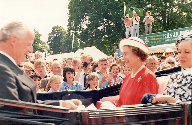 The Queen and Sir Timothy Colman at the Royal Norfolk Show, c, 1980.