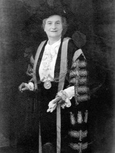 Mrs Ruth Elsie Hardy in the Mayoral Robes.