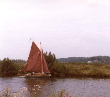 YACHT SEEN FROM THE SURLINGHAM BANK OF THE YARE