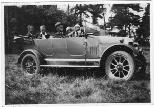 Granddad at the wheel of a Bullnose Morris; it was all for show. He could not drive at the time, although later he learned.