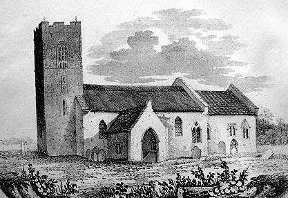 Drayton church before rebuilding. Encraved by Robert Ladbrooke.