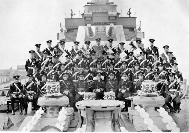 Band of the 2nd Battalion, Norfolk Regt on HMS NORFOLK, 1930.,
