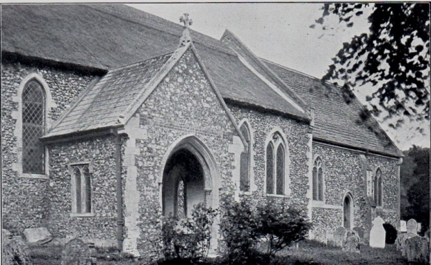 DRAYTON church in the late 19th century, after rebuilding.