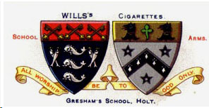 The two coats of arms of Gresham' School.