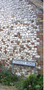 Chalk stone wall. North Norfolk