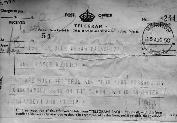 Telegram from Elizabeth and Philip to the Lord Mayor of Norwich, thanking her for congratulations on the birth of Princess Anne.