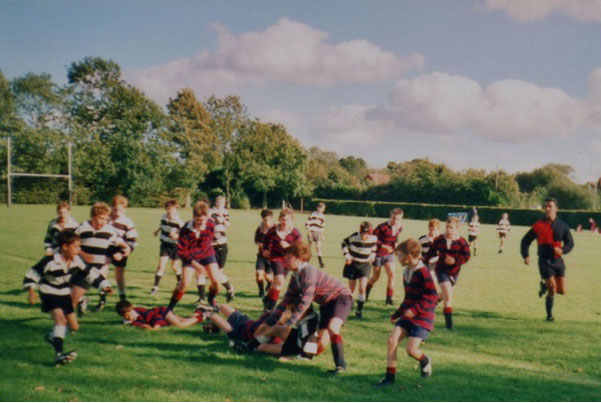 Peter plays Under 13s Rugby march for Norwich School against Gresham's. 6th November 1999