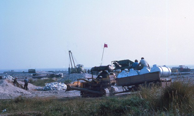 Gas grid installation works at Southwold harbour mouth, 1969.