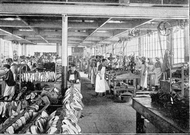 Shoe making in a Norwich factory circa 1900.