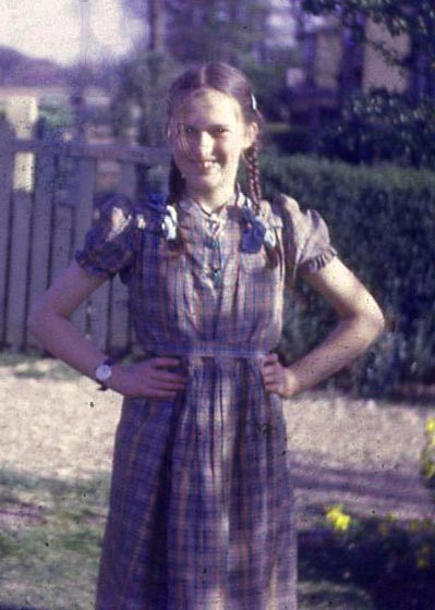 Margaret in the front garden at Poringland, 1949.