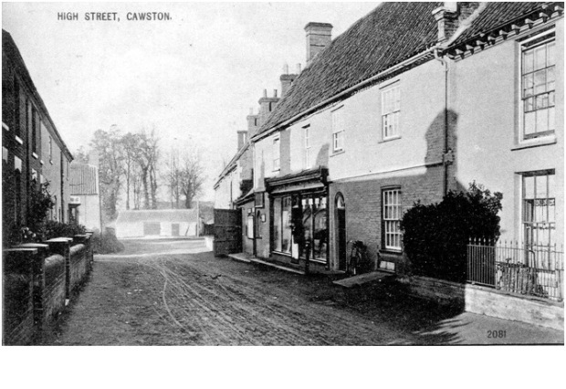 CAWSTON HIGH STREET, with the post office on the right.