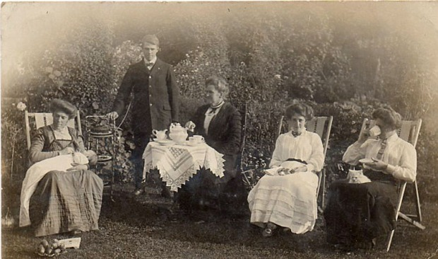TEA PARTY, 1910. I can tell the date as Grandma is nursing my mother as a baby.