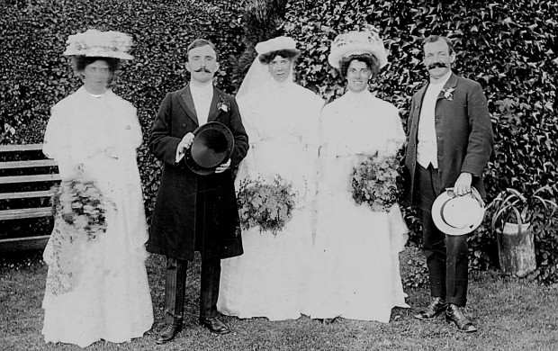 Bride and bridegroom, two bridesmaids and Reggie Rivett (aged 20), the groom's brother.