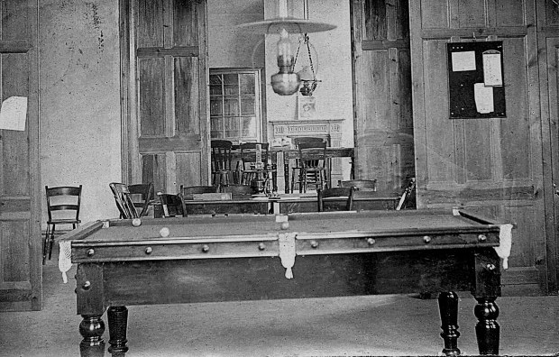 The billiard table in Costessey Reading Room.