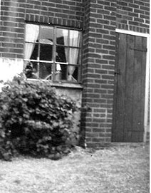 Kitchen window and door to the outside loo; picture of our home about 1957.