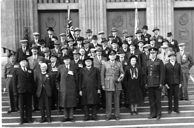 The Norwich branch of the Old Contemptibles Association outside the City Hall, on the 6th of November 1950.