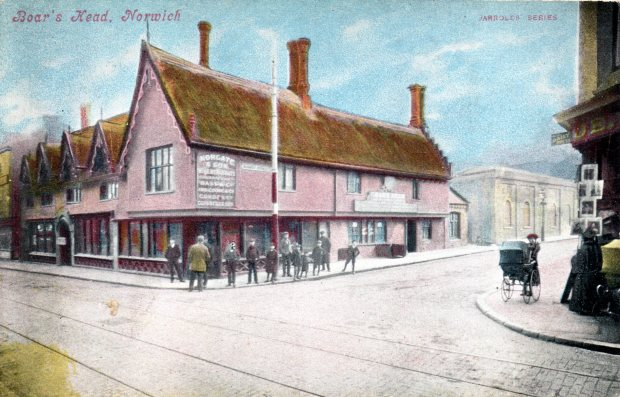 The BOARS HEAD was on the corner of St Stephens and Surrey Street. It was called the Greyhound from at least the early 17th century until about 1843. It was named the Boars Head from the arms of Richard Norgate who had bought the pub in 1840.