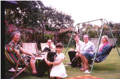 The family in the back garden at Gaywood Road; Grandmas is on the right.