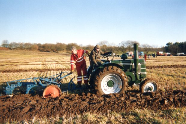 Ploughing by diesel tractor (Field Marshall).