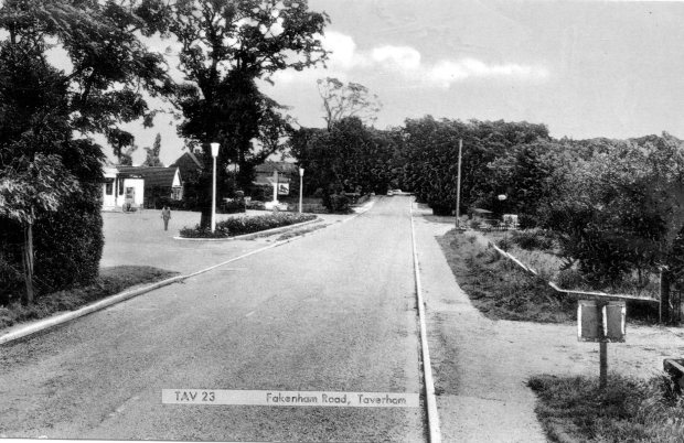 The Fakenham Road in Taverham. The Silver Fox pub is to the left.