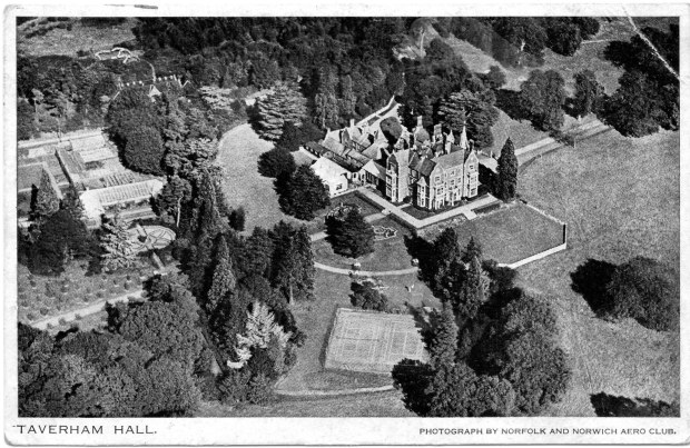 Postcard showing a aerial view of Taverham Hall in 1931; it was already a school.