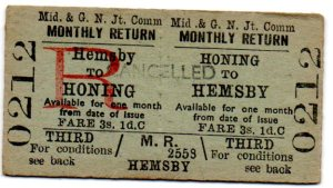Return from Hemsby to Honing; the journey cost 1/6½ each way.