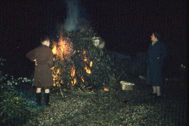 Bonfire Night; my mother, and me aged about eight